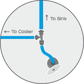 """We install a """"T"""" fitting to the cold water source"""